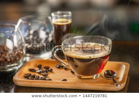 áramló fekete szűrő kávé közelkép európai Stock fotó © ElinaManninen