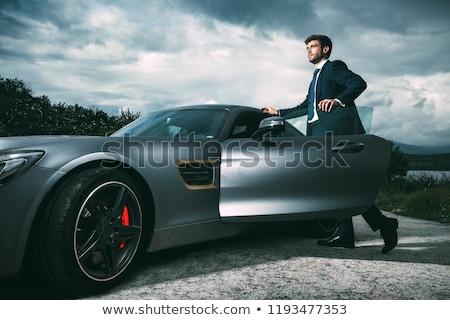Férfi sportautó út nap sportok fák Stock fotó © monkey_business