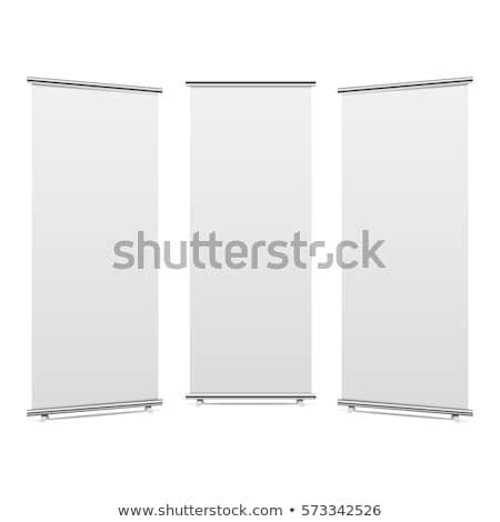 rollen · omhoog · banner · geïsoleerd · witte · 3d · render - stockfoto © stevanovicigor