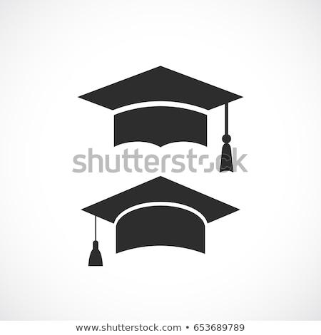 graduación · sombrero · silueta · fondo · CAP · negro - foto stock © madebymarco
