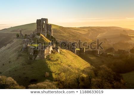 corfe castle sunrise stock photo © stryjek