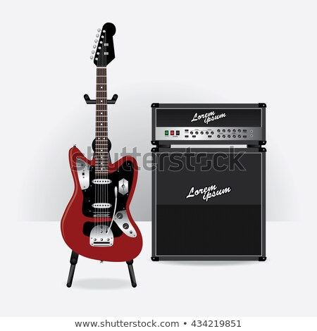 electric guitar stand in front of amplifier Stock photo © PetrMalyshev