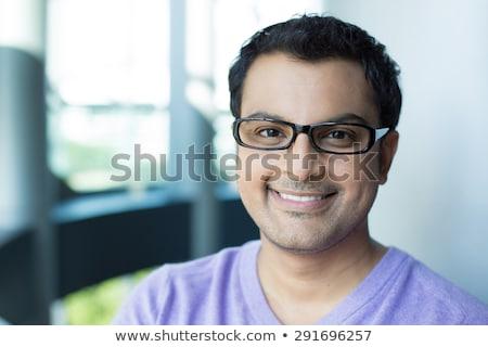 китайский · мужчин · лице · камеры · улыбаясь · очки - Сток-фото © deandrobot