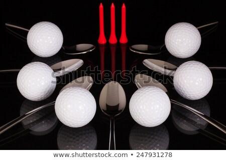 Golf felszerelések fekete üveg asztal asztal Stock fotó © CaptureLight