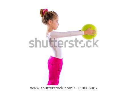 blond fitness kid girls exercise swiss ball workout stock photo © lunamarina