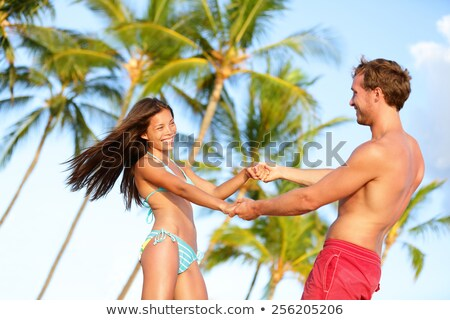 strand · paar · leuk · vakantie · dansen - stockfoto © maridav