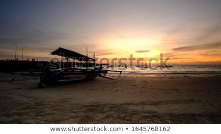 siluet · insanlar · tropikal · plaj · gün · batımı - stok fotoğraf © iunewind