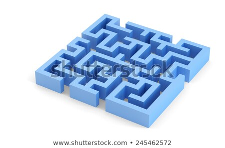 Stock photo: Blue squared 3d maze. Isolated. Contains clipping path