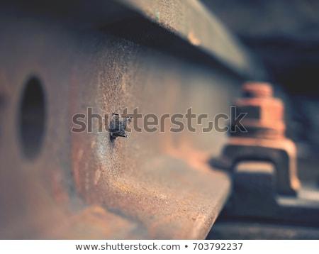 railroad tracks closeup stock photo © olandsfokus