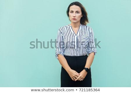 belle · femme · posant · blanche - photo stock © wavebreak_media