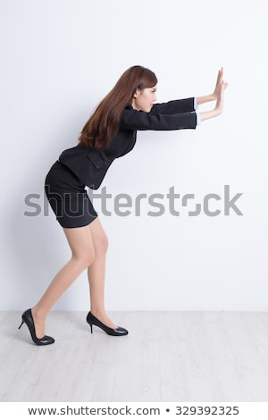 женщину · что-то · мнимый · изолированный · белый - Сток-фото © fuzzbones0