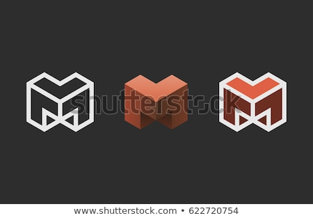 Azul cuadrados letra m diseño de logotipo icono elemento Foto stock © blaskorizov