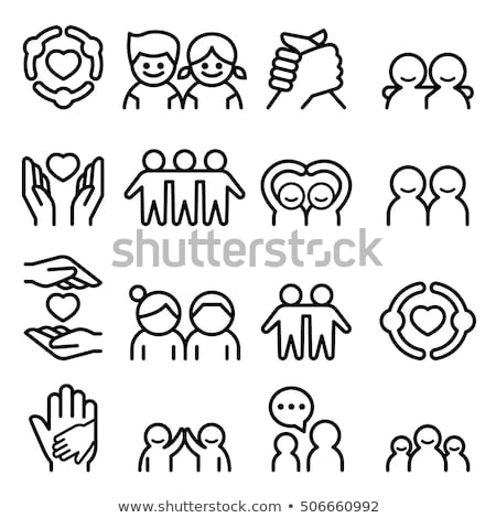 Boy And Girl Holding Hands Symbol Abstract Logo Vector Illustration