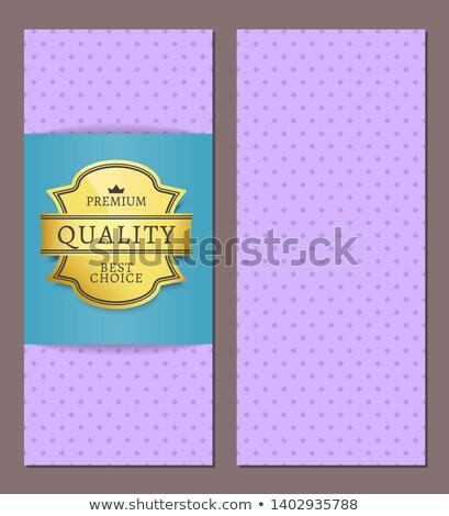 Gold 100 percent original badge with purple ribbon Stock photo © newartgraphics