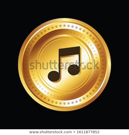 Música nota vetor ouro ícone web Foto stock © rizwanali3d