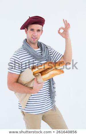 французский парень берет глядя камеры белый Сток-фото © wavebreak_media
