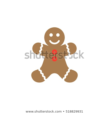 vector flat icons of gingerbread men stock photo © freesoulproduction