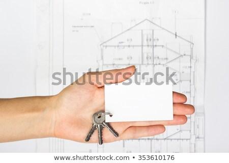 ブランクカード 鉛筆 木製のテーブル 紙 カード 白 ストックフォト © cherezoff