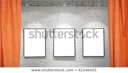 Stok fotoğraf: üç · kareler · tuğla · duvar · kolaj · arka · plan · çerçeve