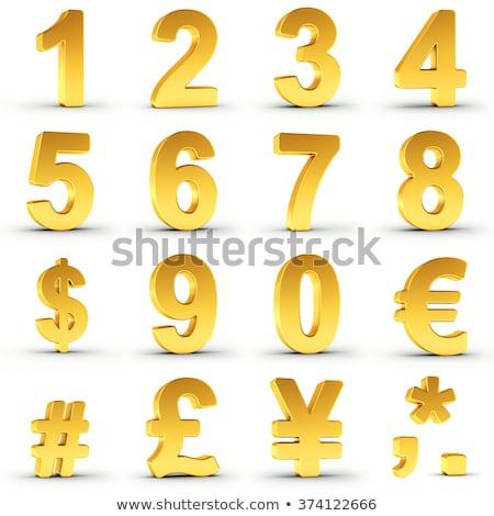 numerikus · számjegyek · gyűjtemény · három · 3D · arany - stock fotó © creisinger