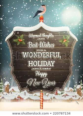 christmas vintage landscape with signboard eps 10 stock photo © beholdereye