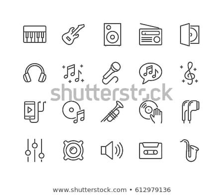 gramofon · vonal · ikon · vektor · izolált · fehér - stock fotó © rastudio