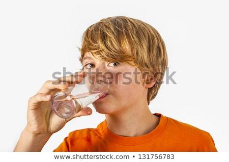 retrato · cute · agua · potable · aislado · blanco - foto stock © meinzahn