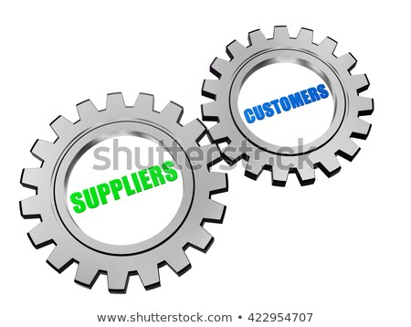 Suppliers And Customers In Silver Grey Gears Foto stock © marinini