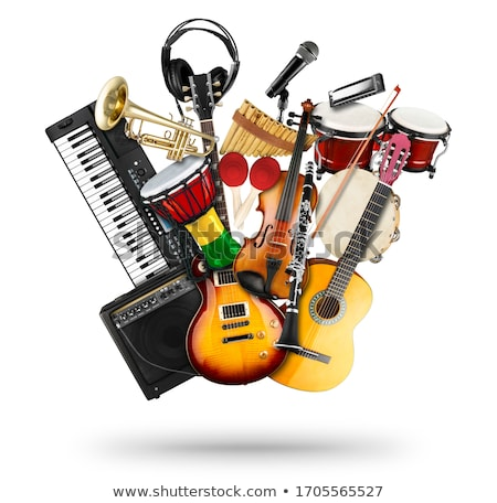 Instruments de musique piano guitare illustration fond violon Photo stock © bluering