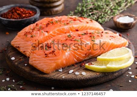 Brut saumon planche à découper citron saine nutrition Photo stock © Digifoodstock