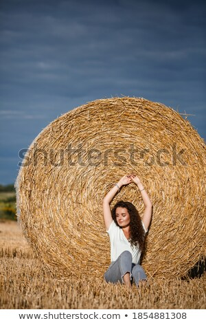 lovely fashion woman near hay stack stock photo © vlad_star