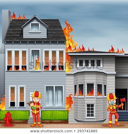 Bombeiros cena casa fogo ilustração água Foto stock © bluering