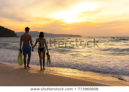 Woman in bikini with snorkelling gear walks on beach  Stock photo © Kzenon