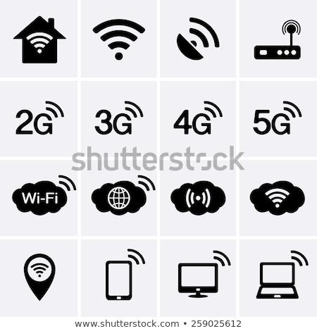 3g 4g ikonok kék szürke szimbólumok Stock fotó © Oakozhan