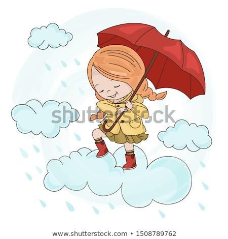 meisje · paraplu · gelukkig · jaren · zomer · jurk - stockfoto © nyul
