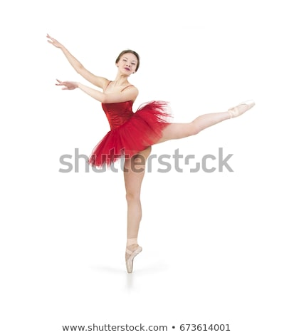 Stockfoto: Ballerina · rode · jurk · hartstochtelijk · vrouw · danser · mode