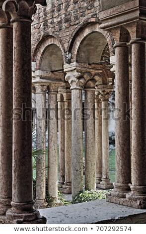 Columns and arches in the medieval cloister of Saint Zeno Stock photo © alessandro0770
