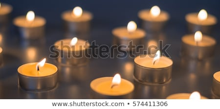 Stockfoto: Licht · veel · kaarsen · brandend · zwarte · achtergrond