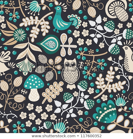 Mushroom seamless pattern on dark background. Stock photo © adrian_n