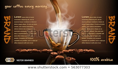 Realistic splash flowing coffee Mockup template Stock photo © frimufilms