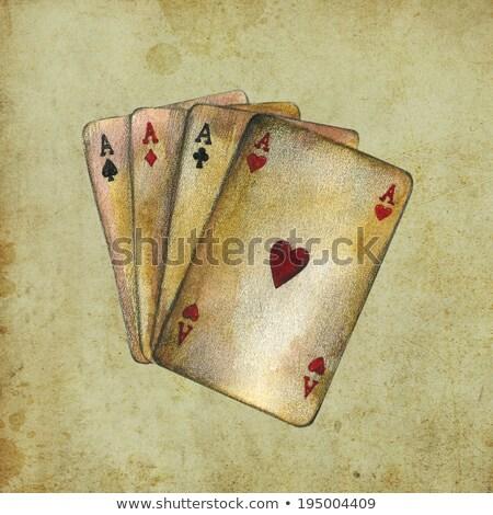 kártya · öltönyök · izolált · piros · szín · siker - stock fotó © pixxart
