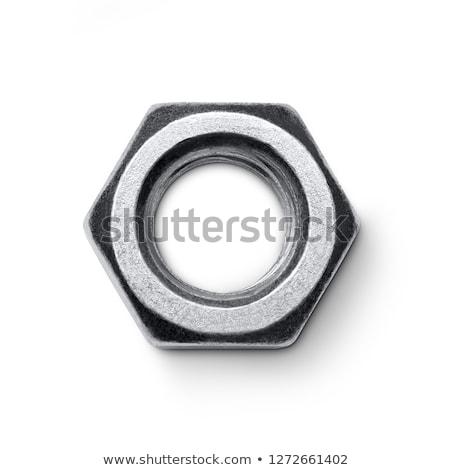iron nut isolated metal female screw on white background stock photo © maryvalery