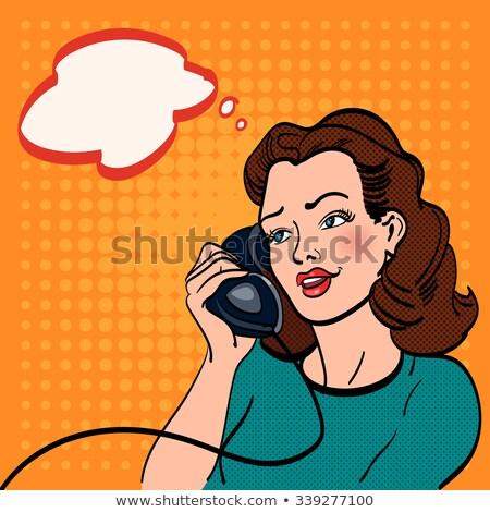 Line art comic woman talking on the retro phone Stock photo © balasoiu