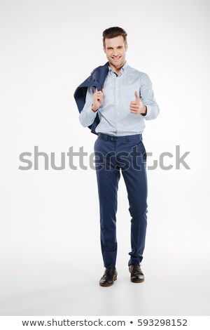 bem · sucedido · jovem · empresário · polegar · para · cima - foto stock © deandrobot