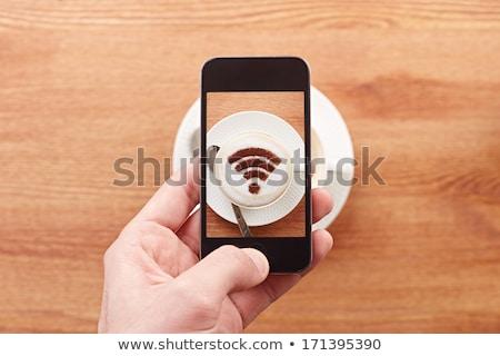 Wifi filiżankę kawy kawy pełny świeże czarny Zdjęcia stock © Fisher