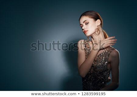 Szépség arany szem smink divat barna hajú portré Stock fotó © Victoria_Andreas
