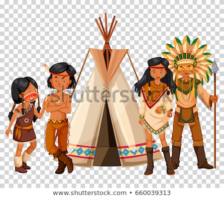 Native American family and teepee Stock photo © bluering