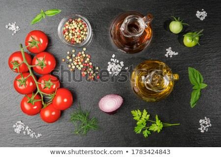 ストックフォト: 小枝 · チェリートマト · 白 · プレート · 食品 · 赤