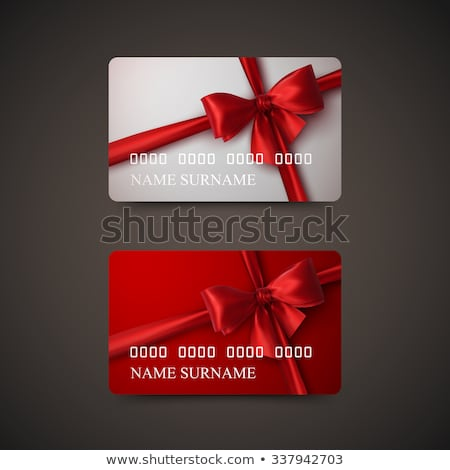 rouge · or · cadeau · arc · vecteur · tag - photo stock © oblachko