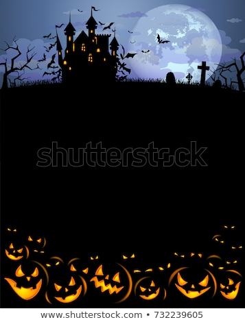Хэллоуин плакат вечеринка дизайна луна веб Сток-фото © bedlovskaya
